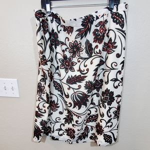 New Le suit floral black white red gorgeous skirt